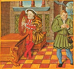Henry VIII playing a harp, with his fool Will Somers; from the King's Psalter